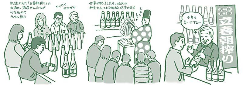 立春朝搾り 酒屋さんが自らラベル貼り・神主さんのお祓い